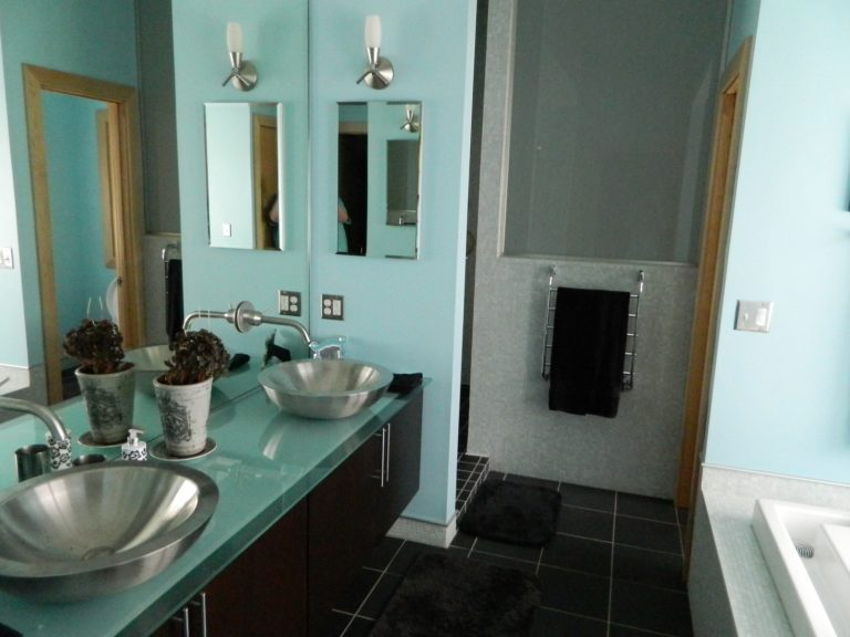 Just julie blog archive the bathroom fraud for Teal and white bathroom ideas